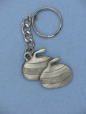 Curling Stone keychain - Lead Free Pewter