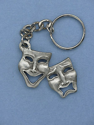 Comedy & Tragedy Keychain - Lead Free Pewter