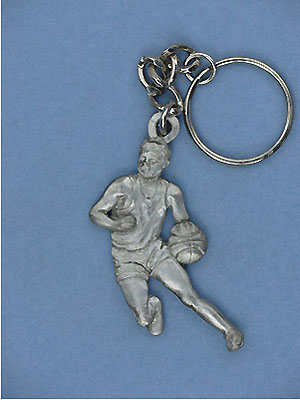 Basketball Player Keychain - Lead Free Pewter