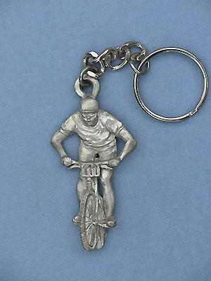 Cyclist Keychain - Lead Free Pewter