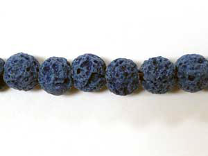 6mm Round Lava Beads - Lapis Blue (Dyed)