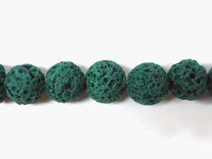 8mm Round Lava Beads - Green (Dyed)
