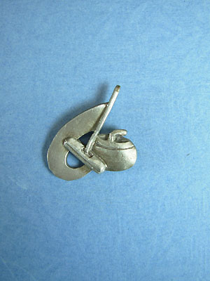 Rock and Broom Lapel Pin - Lead Free Pewter