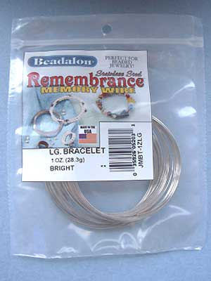 Large Bracelet Stainless Steel Memory Wire Round 1oz pkg.