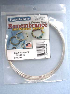 Large Necklace Stainless Steel Memory Wire Round 1oz pkg.