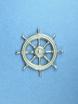 Ship's Wheel Brooch - Lead Free Pewter