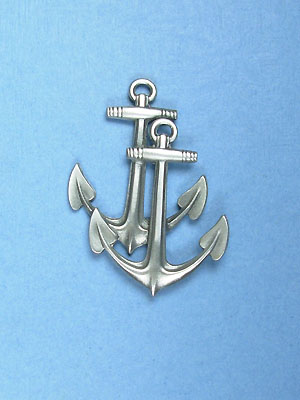 Double Anchor Brooch - Lead Free Pewter