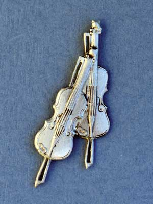 Double Violin Brooch - Lead Free Pewter