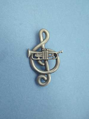 Treble Clef and Trumpet Brooch - Lead Free Pewter