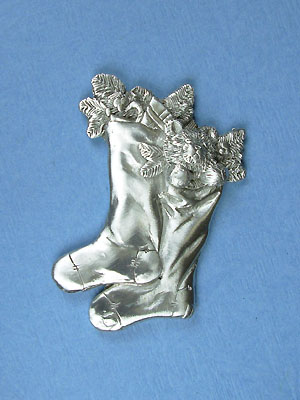 Two Stockings Brooch - Lead Free Pewter