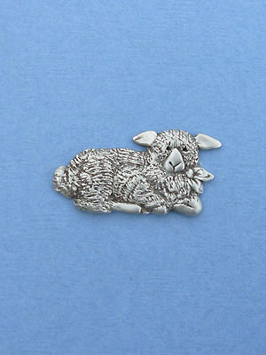 Christmas Lamb Booch - Lead Free Pewter