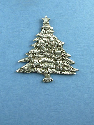 Small Christmas Tree  Brooch - Lead Free Pewter