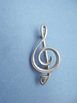 Treble Clef Brooch - Lead Free Pewter