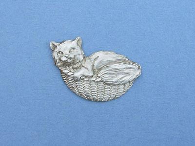 Cat in Basket - Lead Free Pewter