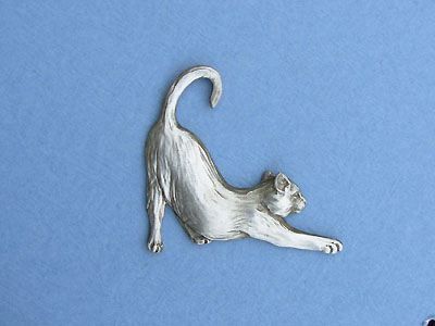 Stretching Cat -Lead Free Pewter