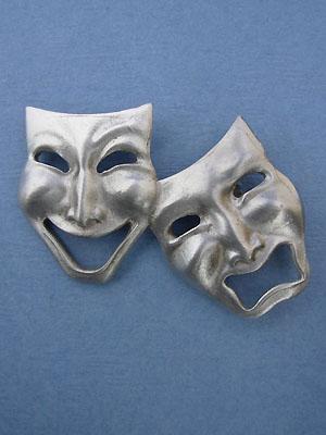Comedy & Tragedy Brooch - Lead Free Pewter