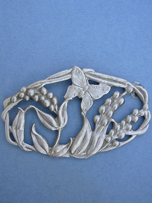 Butterfly with Flowers Brooch - Lead Free Pewter