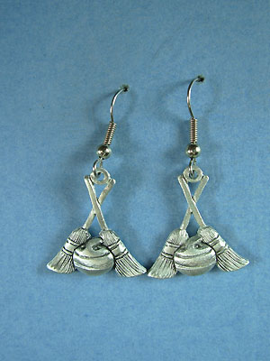 Curling Rock & Broom Earrings - Lead Free Pewter