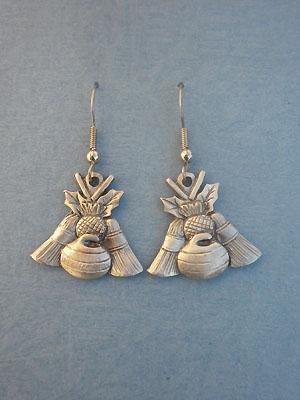 Thistle, Rock & Broom Dangle Earrings - Lead Free Pewter