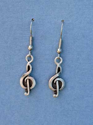 Treble Clef Dangle Earrings - Lead Free Pewter