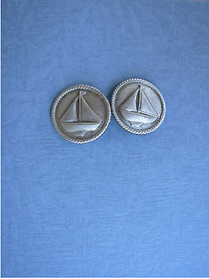 Med. Sailing Ship Earrings - Lead Free Pewter