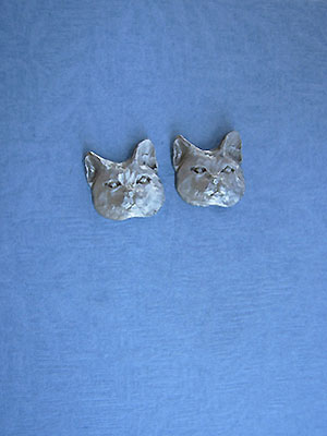 Large Cat Face Earrings - Lead Free Pewter