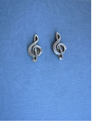 Treble Clef Stud Earrings - Lead Free Pewter