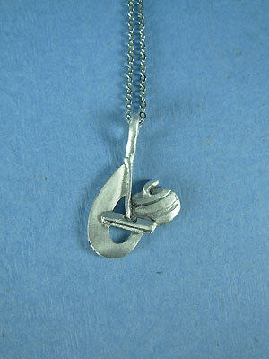 "Curling Rock and Broom Swoosh Lead Free Pewter Pendant c/w 18"" Chain"