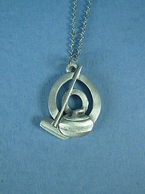 Curling Rock and Broom in circle Pendant - Lead Free Pewter