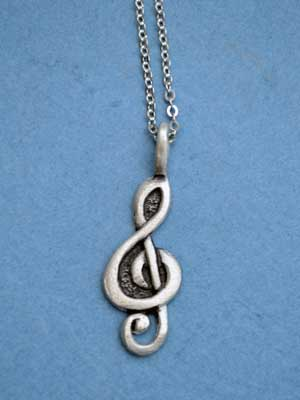 "Treble Clef Lead Free Pewter Small Pendant c/w 18"" Chain"