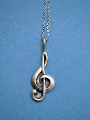 "Treble Clef Lead Free Pewter Large Pendant c/w 18"" Chain"