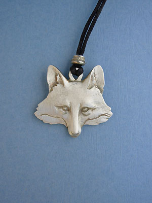 Large Fox Head Lead Free Pewter Pendant c/w Cord