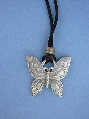 Large Butterfly Pendant - Lead Free Pewter c/w Cord