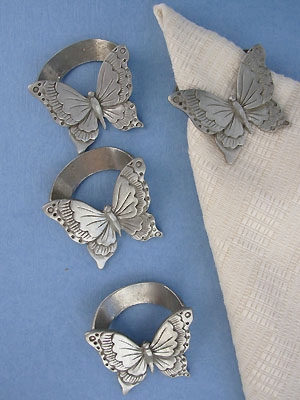 4 PC Napkin Ring Holders - Lead Free Pewter