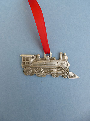 Train Engine Christmas Ornament - Lead Free Pewter