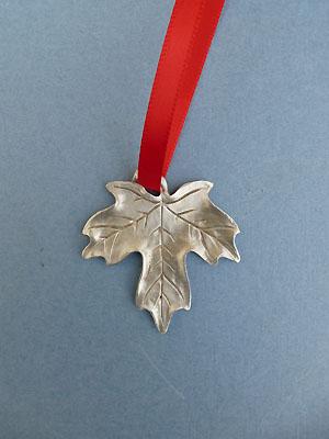 Maple Leaf Christmas Ornament - Lead Free Pewter