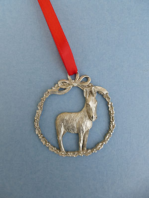 Donkey Christmas Ornament - Lead Free Pewter