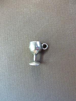 Wine Glass Mini-Charm - Lead Free Pewter