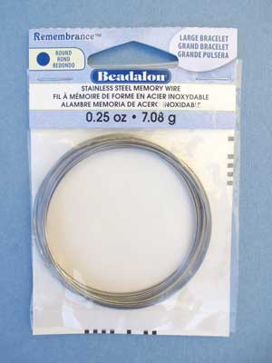 Large Bracelet Stainless Steel Memory Wire Round 0.25oz pkg.