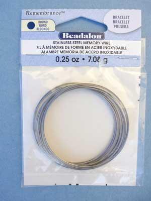 Bracelet Stainless Steel Memory Wire Round 0.25oz pkg.