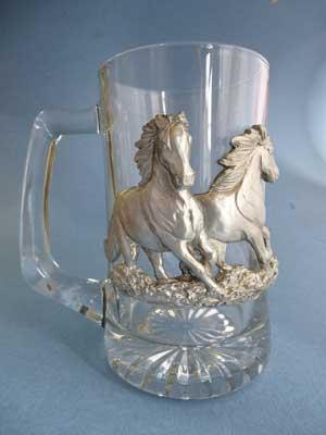 Lg. Horses Beer Mug - Lead Free Pewter