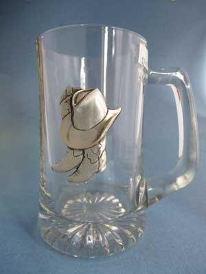 Cowboy Boots & Hat Beer Mug - Lead Free Pewter