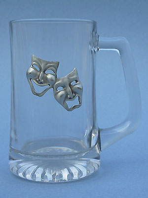Comedy & Tragedy Beer Mug - Lead Free Pewter