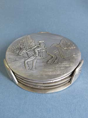 Horse /Rider Coaster Set of 4 w/ Stand - Lead Free Pewter