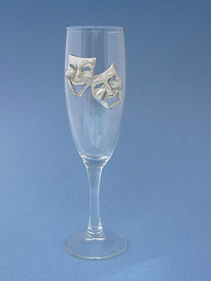Comedy & Tragedy Champagne Glass - Lead Free Pewter