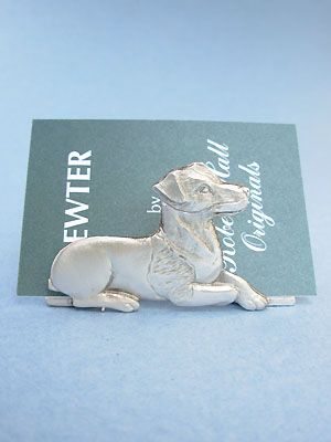 Sitting Jack Russell Business Card Holder - Lead Free Pewter