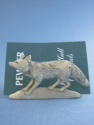 Fox Business Card Holder - Lead Free Pewter