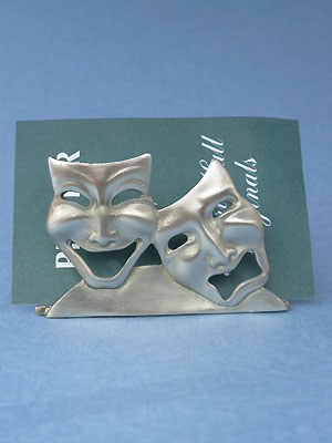 Comedy & Tragedy Card Holder - Lead Free Pewter