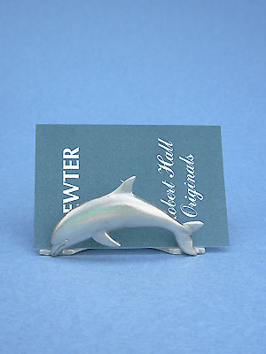 Dolphin Buisness Card Holder - Lead Free Pewter