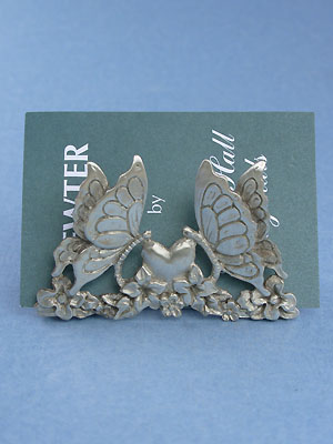 Butterfly Business Card Holder - Lead Free Pewter